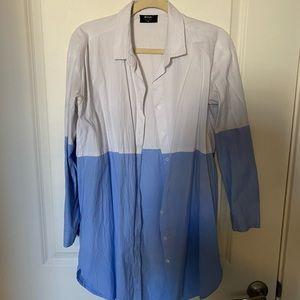 Oversized woman's dress shirt (worn as a dress)